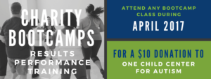 April 2017 Charity Bootcamps for One Child Center for Autism, Presented by Results Performance Training